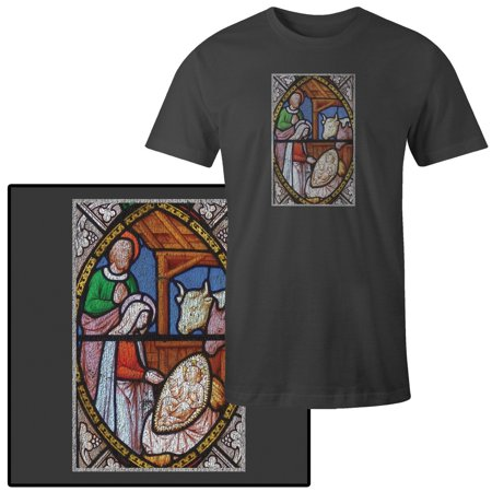 Men's Stained Glass Nativity Scene Of Christmas In Church T-Shirt - Nativity Clothes