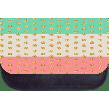 Nylon Pencil Bag (Faux Gold Glitter Polka Dots on Colorblocked Stripes - 5