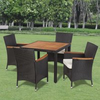 Awaymmer Outdoor Dining Set Nine Pieces with Wooden Top Black Poly Rattan