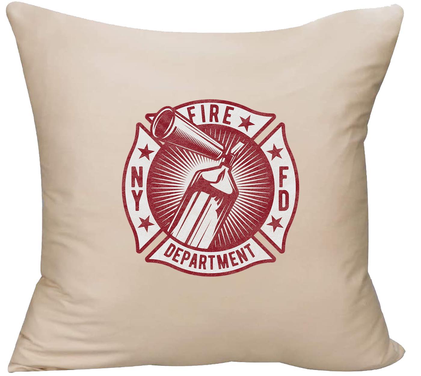 Fire Extinguisher Ny Fire Department New York Decorative Throw Pillow Cover 18 X 18 Beige Funny Gift Walmart Com Walmart Com