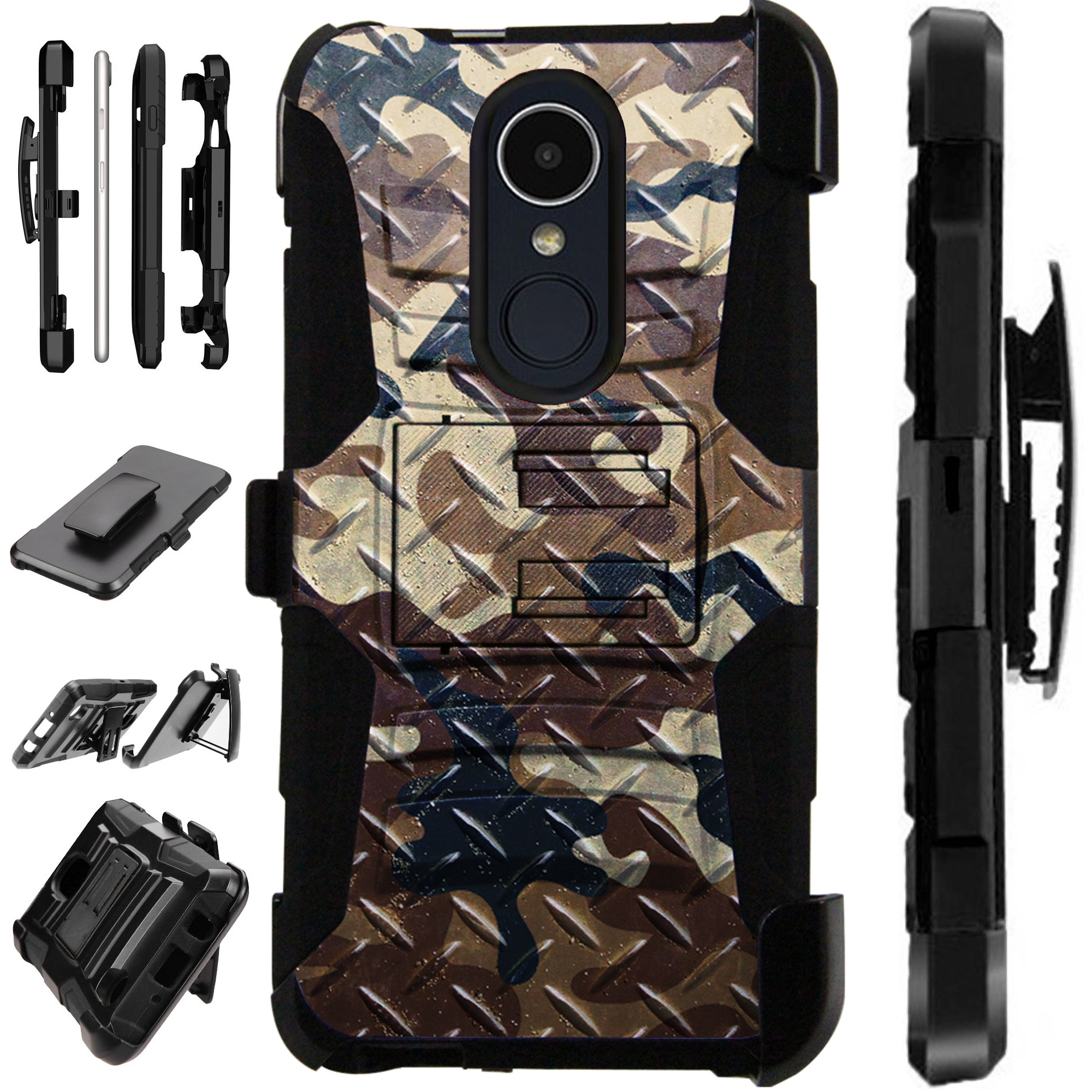 For LG Xpression Plus (2018) Case Armor Hybrid Silicone Cover Stand LuxGuard Holster (Camo Brown Crosshatch)