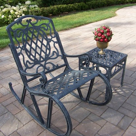 Oakland Living Mississippi Cast Aluminum 2 pc. Rocking Chair & Table Set (Mississippi Pc)