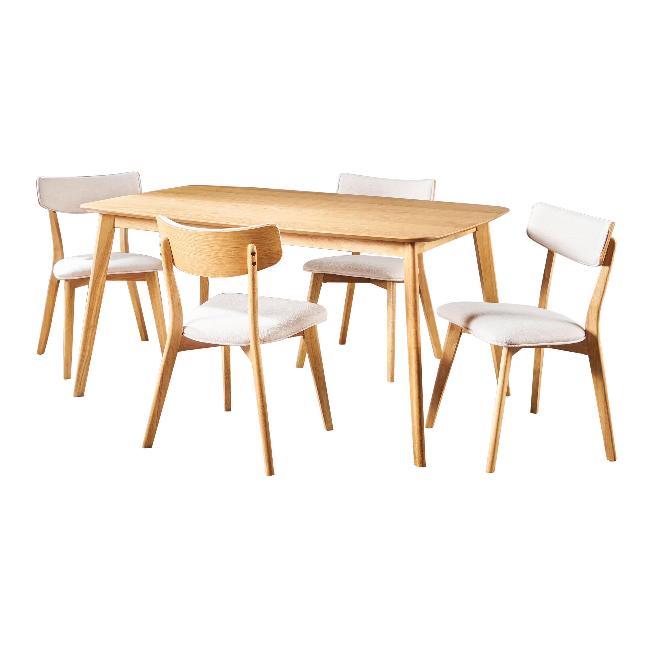 Antonio Mid Century Natural Oak Finished 5 Piece Wood Dining Set with Fabric Chairs, Light Beige
