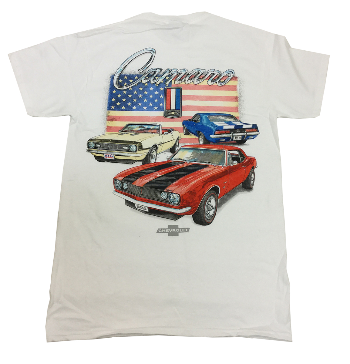 Joe Blow GM Camaros Red, White, And Blue American Flag Short Sleeve T-shirt