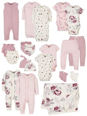 Modern Moments by Gerber Baby Girl Baby Shower Layette Gift Set, 20pc