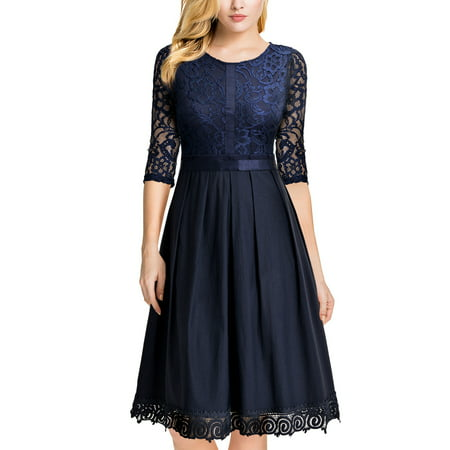 MIUSOL Women's Vintage Half Sleeve Floral Lace Cocktail Party Pleated Swing Dresses for Women (Navy Blue L)