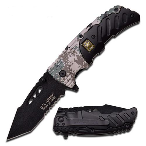 US Army  4.5in Folder Tanto Black Blade-Aluminum Camo Handle - A-A1023TBC