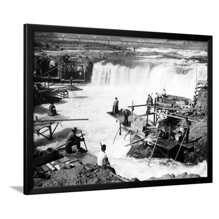 Rivet Frame (Men fishing at Celilo Falls Photograph - Columbia River, OR Framed Print Wall Art By Lantern Press)