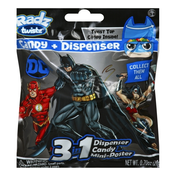3 in 1 Radz Twistz  Candy Mini Poster Dispenser 6 bags Justice League DC