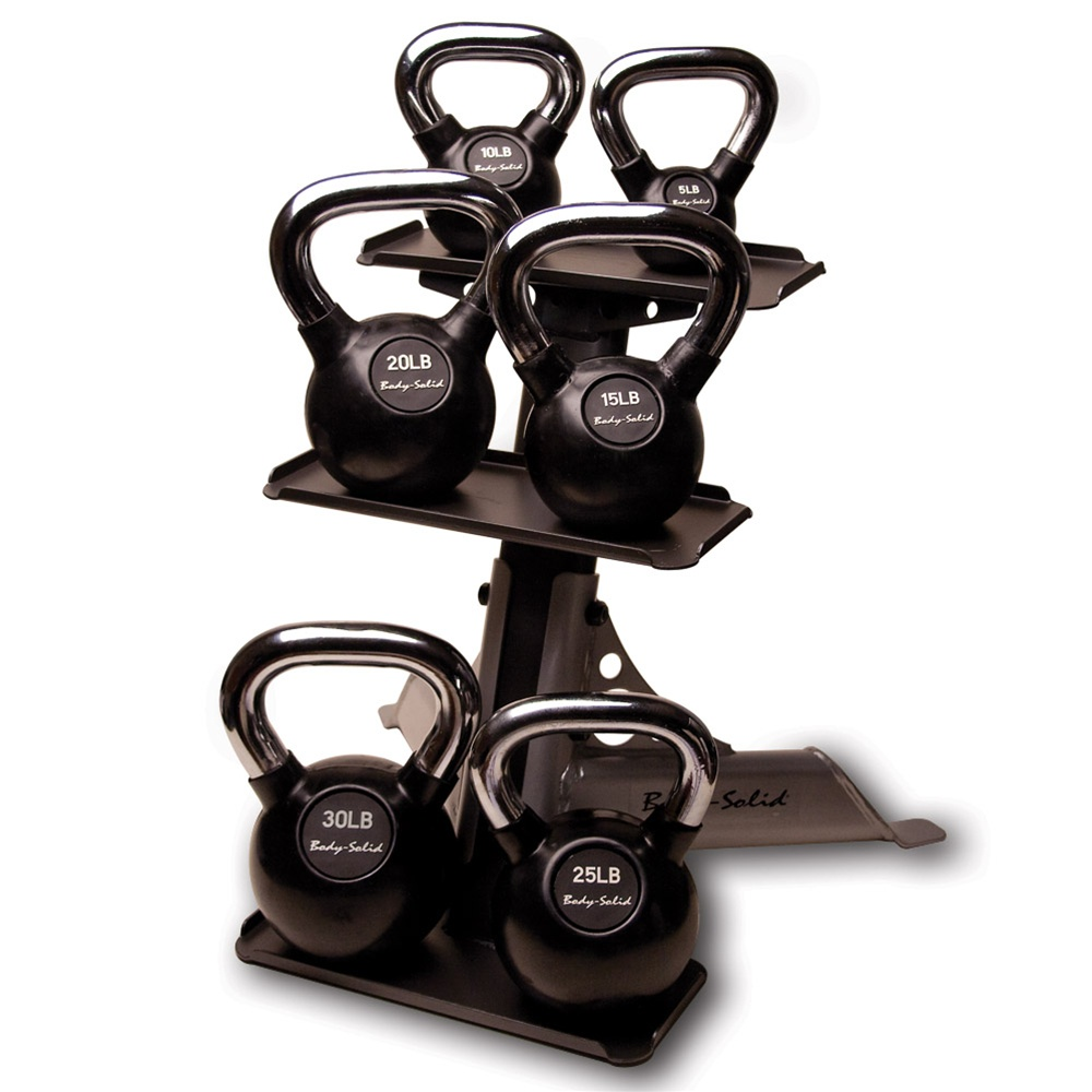 Body-Solid Chrome Handle, Rubberized Kettlebell Set 5-30lb Singles, with Rack