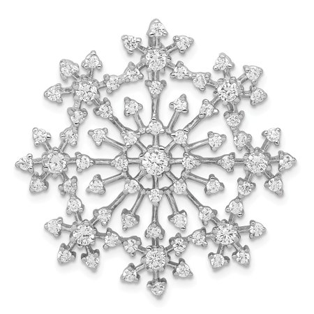 Mireval Sterling Silver Anti-Tarnish Treated CZ Snowflake Slide (approximately 35 x 35 mm) 35 Mm Slide Dimensions