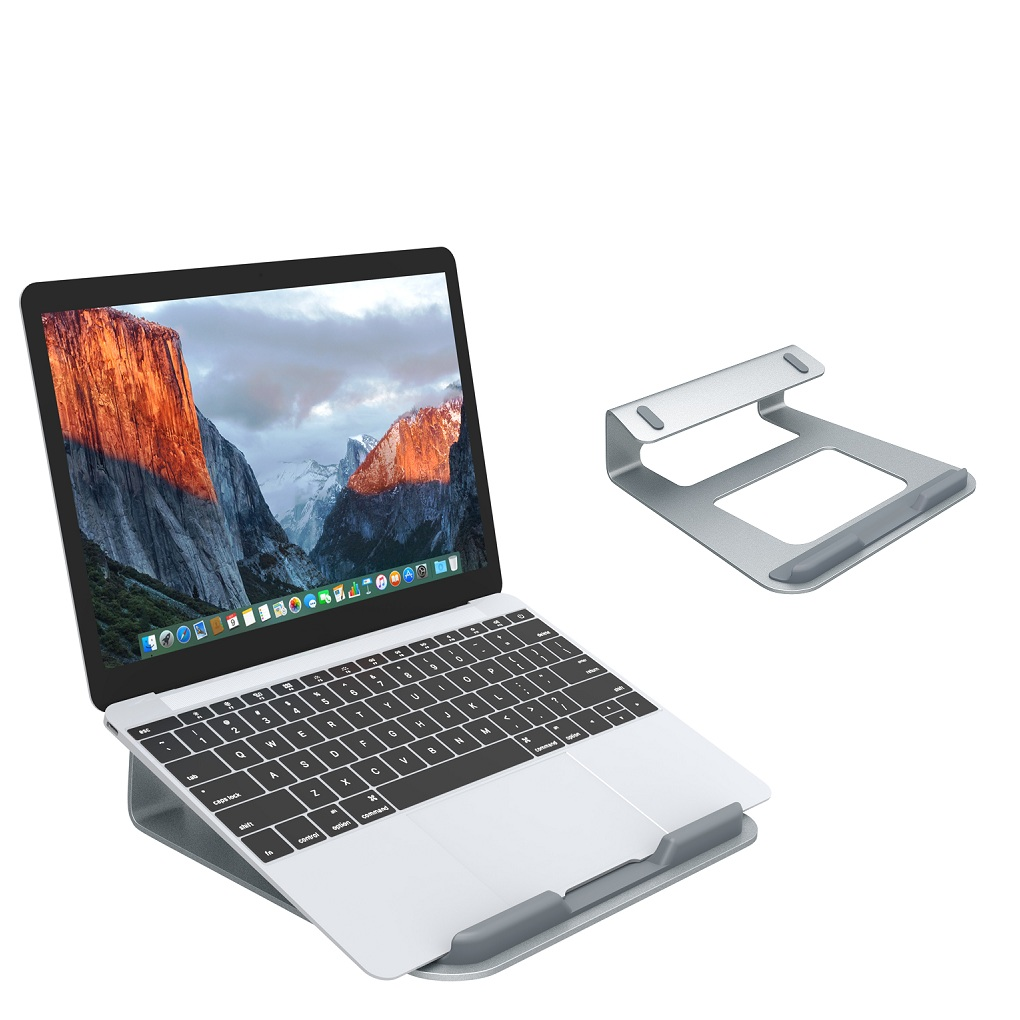 "SLYPNOS Laptop Stand Holder,Aluminium Wedge Laptop Stand Cooling Ventilated Portable Tilted Elevated Laptop Riser with Non-Slip Pads and Front Lip for 11""-15.4"" Laptop Notebook Tablet, Silver"