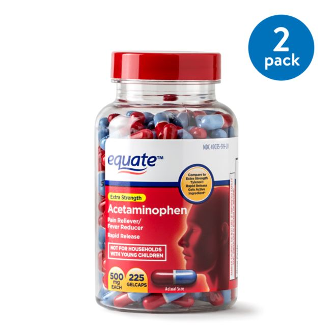 (2 Pack) Equate Extra Strength Acetaminophen Rapid Release Gelcaps, 500 mg, 225 Ct