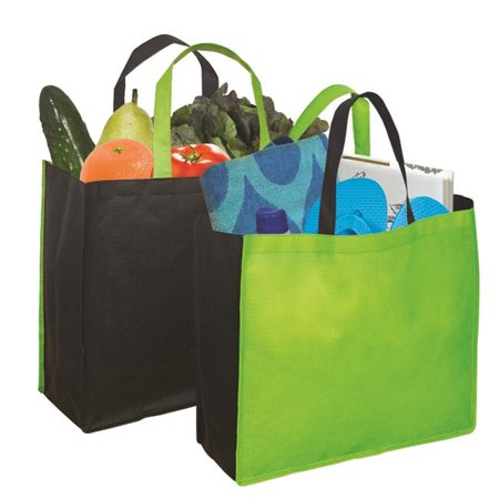 Debco NW4699 Non Woven Two Color Tote - Lime Green / Black  - 12 Pack - image 1 of 1