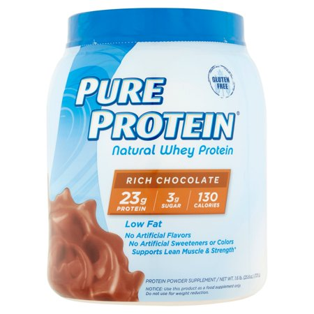 Pure Protein Rich Chocolate Natural Whey Protein Powder Supplement  25 6 Oz