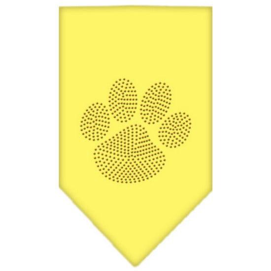 Paw Gold Rhinestone Bandana Yellow Small