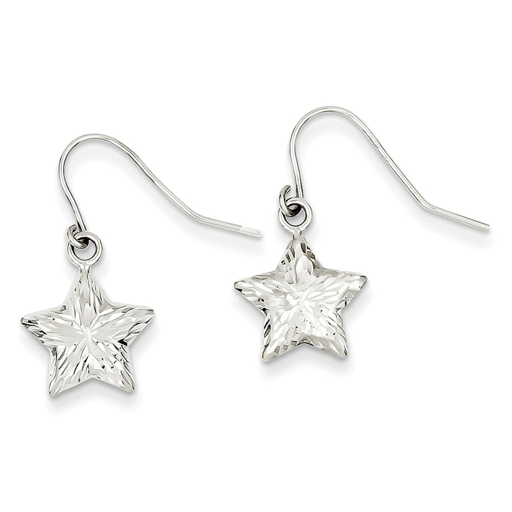 14k White Gold 3-D D/C Star Dangle Shepherd Hook Earrings (1.1IN x 0.4IN )