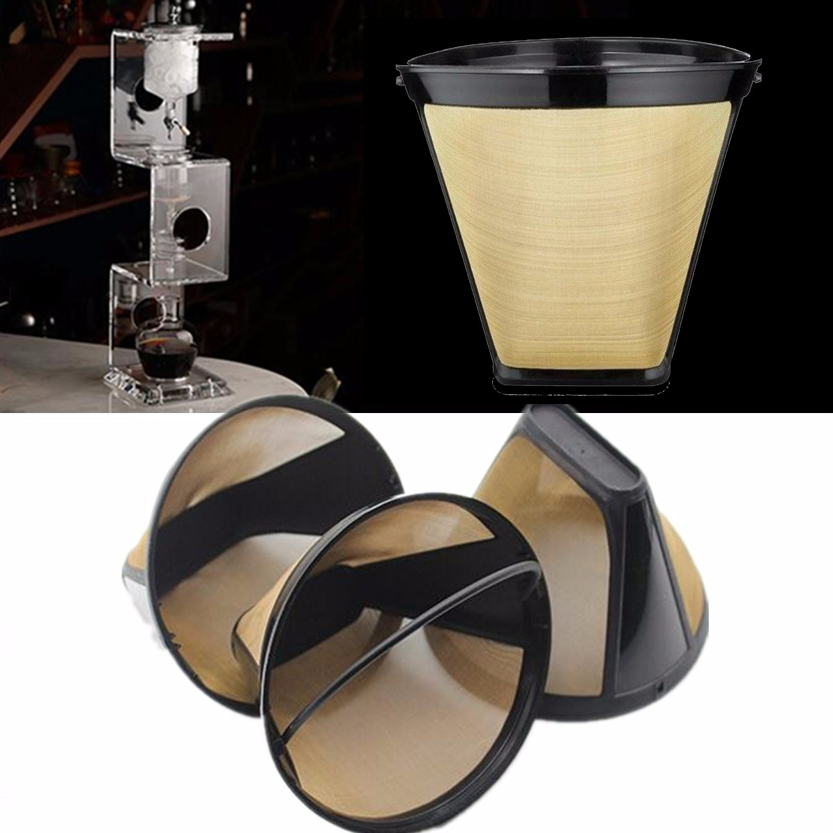 Stainless Steel Mesh machinefilter Coffee Machine Conical Cone Dripper Separation Filter