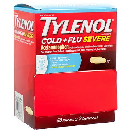New 371879  Tylenol Cold + Severe Flu 50 Ct (50-Pack) Cough Meds Cheap Wholesale Discount Bulk Pharmacy Cough Meds