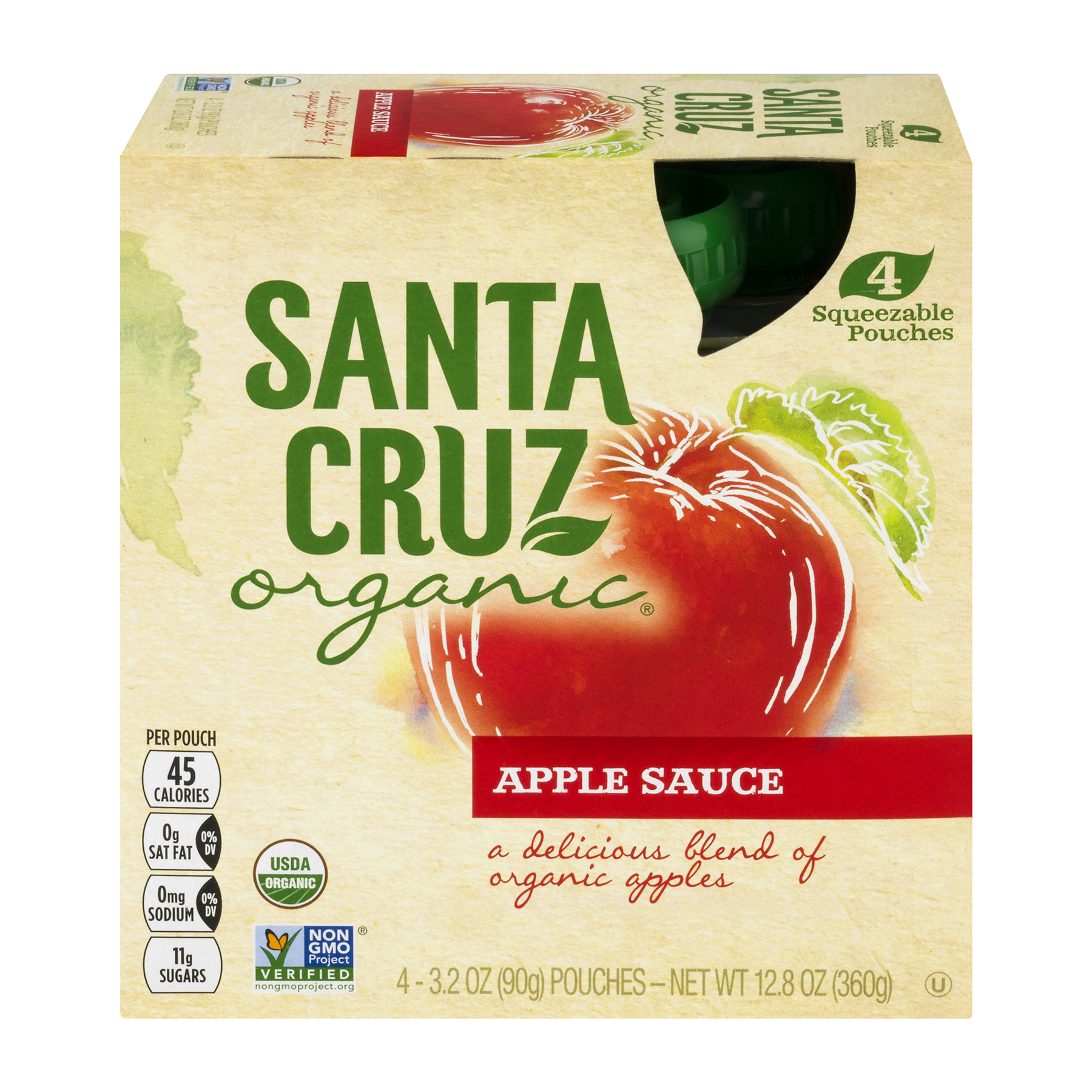 Santa Cruz Organic Apple Sauce Original, 4 Pouches