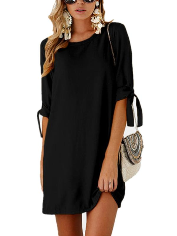 Womens Short Sleeve O Neck Casual Mini Dresses by