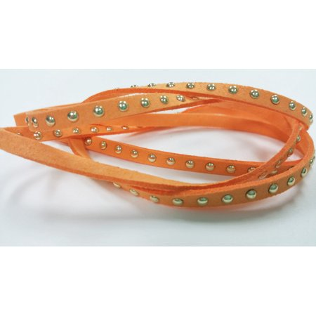 1 YARD - 4.5mm Gold Round Studded Rivets Orange Faux Suede Cord Leather Lace Ribbon Soft