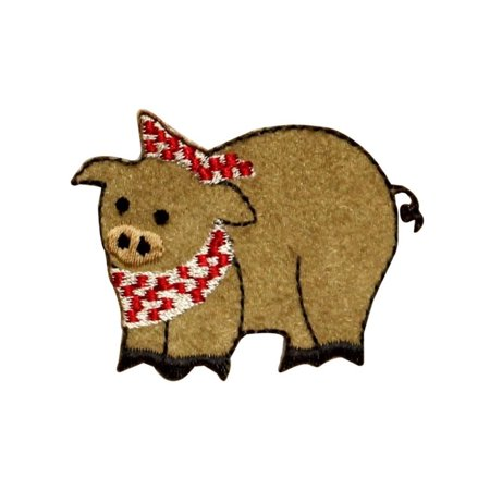 - ID 0712 Pig With Bandana Patch Hog Dinning Bacon Embroidered Iron On Applique
