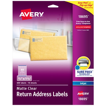 "Avery Matte Clear Return Address Labels, Sure Feed Technology, Inkjet, 2/3"" x 1-3/4"", 600 Labels (18695)"