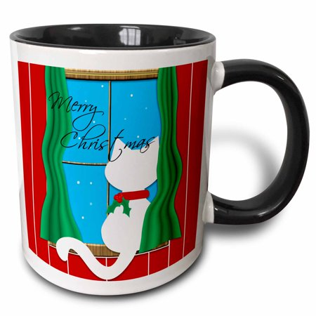 - 3dRose Merry Christmas - Cute White Cat in Snowy Window, Two Tone Black Mug, 11oz