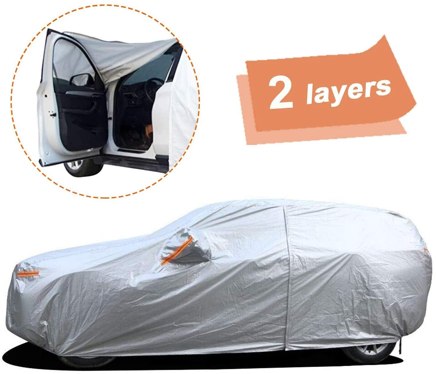 535x200x160 cm Gengcan Car Covers Fit For Benz S Series Waterproof Breathable Heavy Duty Scratch Proof All Weather Protection Full Covers with Side Opening Style D Silver
