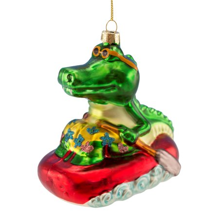 Cool Alligator in Life Raft Blown Glass Christmas Holiday (Raft Ornament)