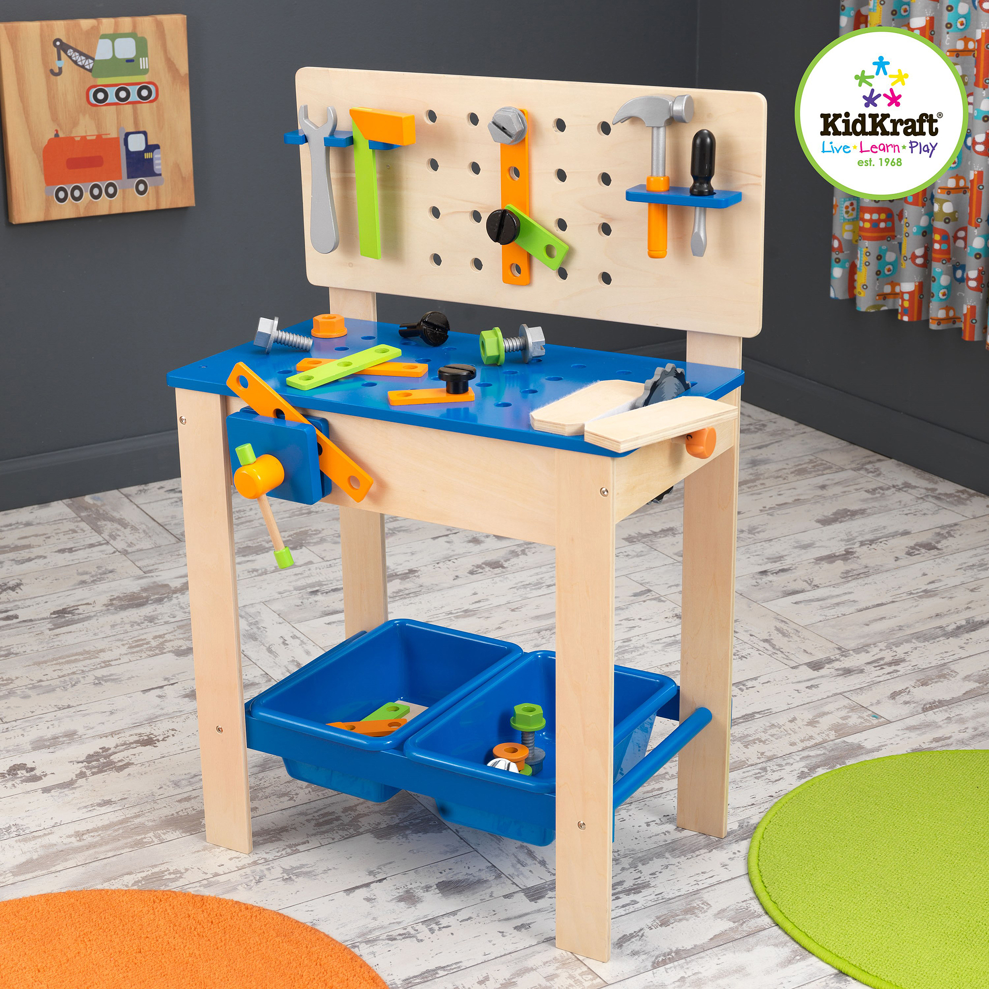 KidKraft Deluxe Wooden Workbench With 4 Tools and 10 Accessories