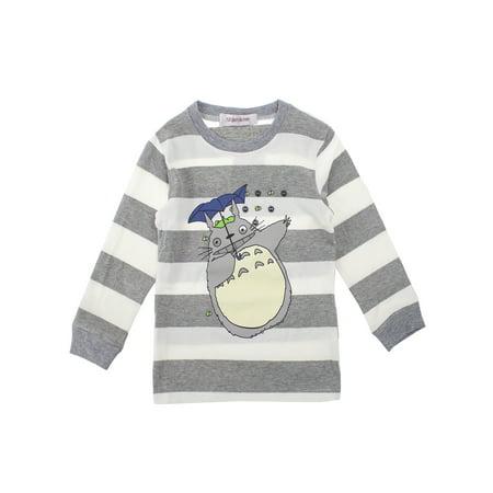 Baby Toddler Boys Girls Totoro Striped Long Sleeve Cotton Top (Grey, 100/3-4