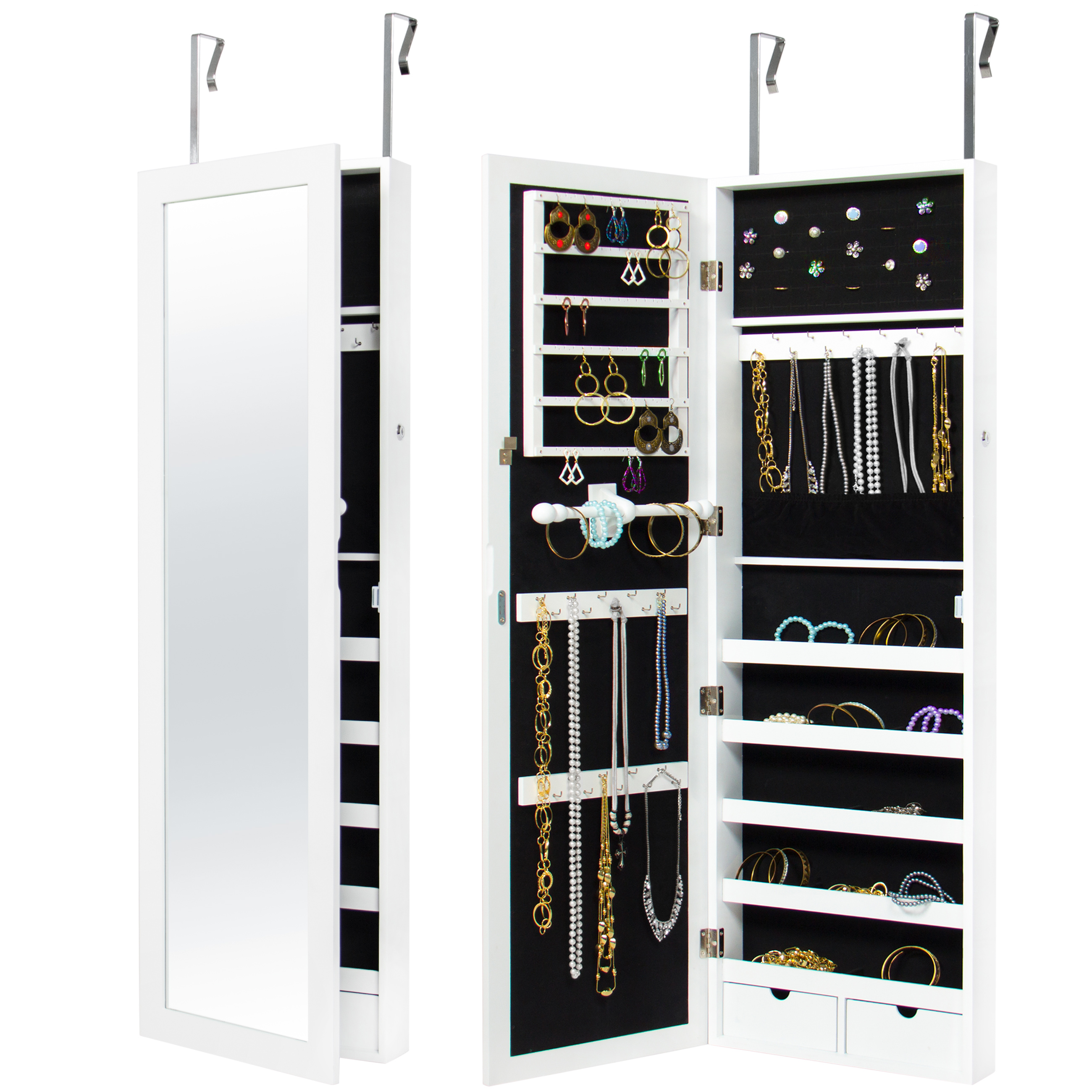 Best Choice Products Mirrored Hanging Jewelry Cabinet Armoire Organizer Over Door Wall Mount W/ Keys- White