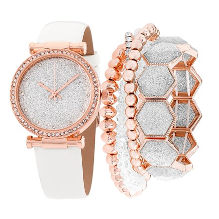 - Ladies Watch and Bracelet Set Rose Gold With Stones Dial, White Glitter Dial, White Leather Strap