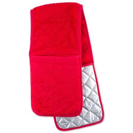 DII Red Terry Double Oven Mitt, 36x7.5
