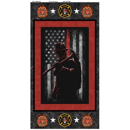Firefighter, Fireman Cotton Panel-100% Cotton-Sold by the -