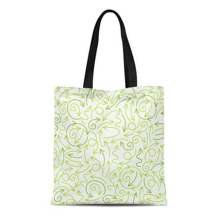 ASHLEIGH Canvas Tote Bag Green Arraws Abstract Vegan Nature Organic Healthy Food Eco Durable Reusable Shopping Shoulder Grocery