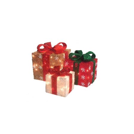 Christmas Decorations Outdoors (Set of 3 Lighted Gold, Green & Cream Sisal Gift Boxes Christmas Outdoor)