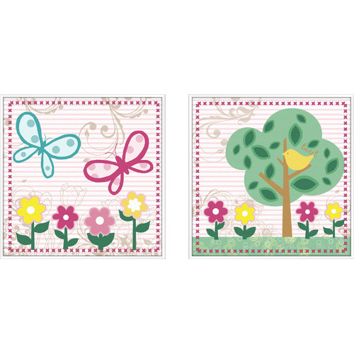 PTM Images Juvenile 2 Piece Flower Framed Art Set