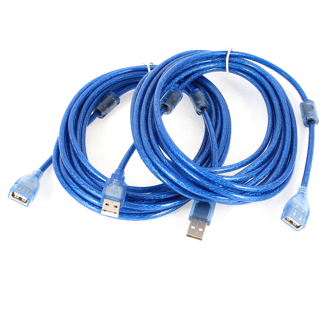2 Pcs PVC Cover 16ft USB 2.0 A Male to A Female Extension Cable Blue