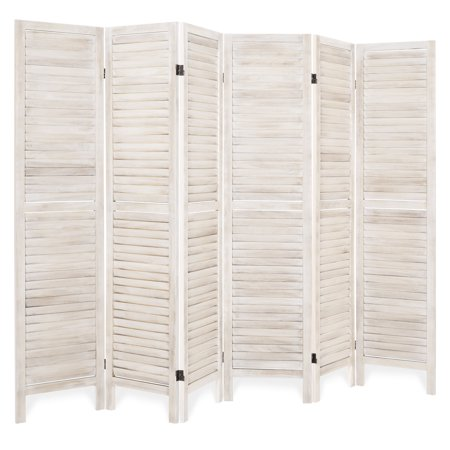 Best Choice Products 67x96in 6-Panel Blind Style Wood Folding Freestanding Room Divider Privacy Screen for Living Room, Bedroom, Apartment, Natural Privacy Floor Screen