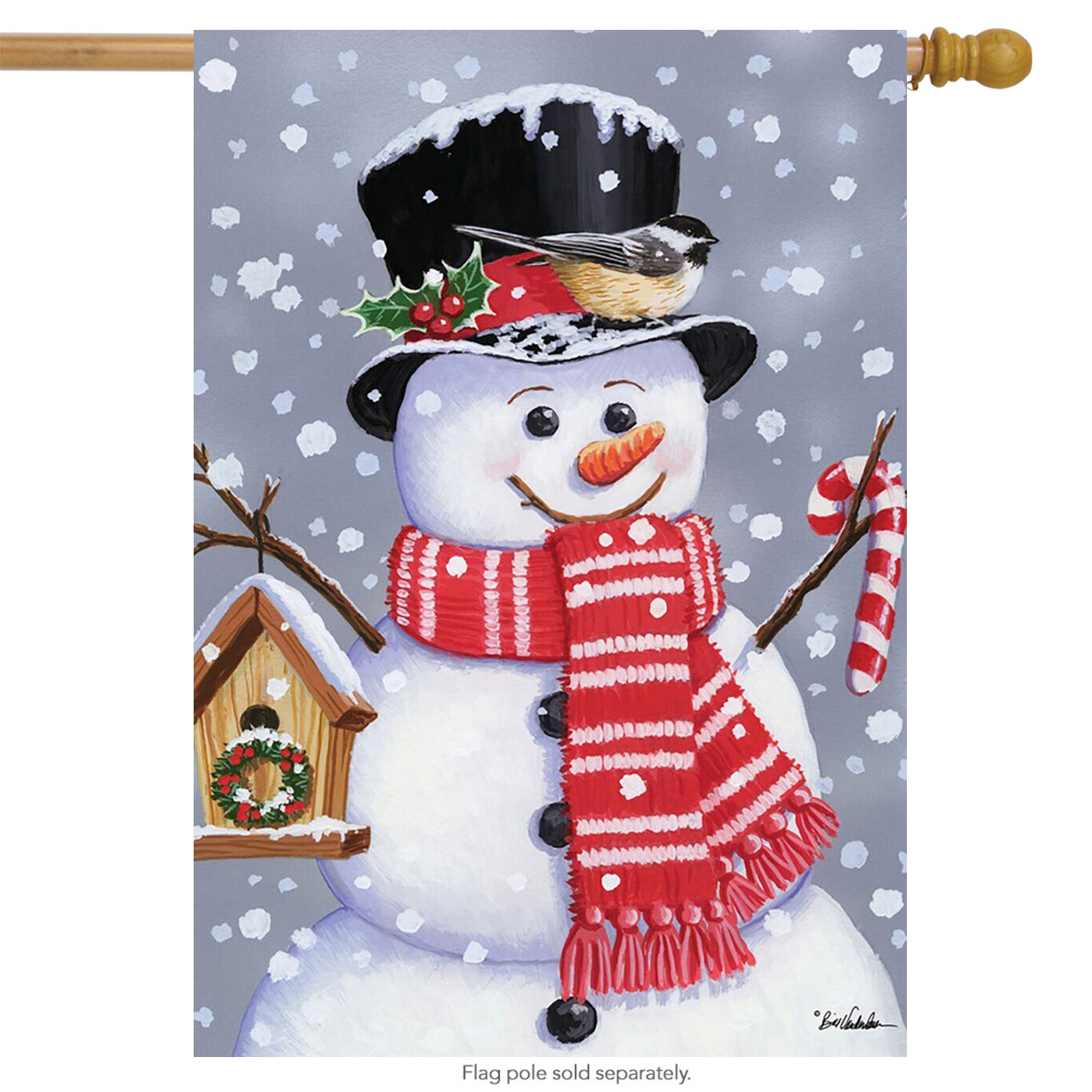 "Snowman Birdhouse Christmas House Flag Winter Holiday Candy Cane 28"" x 40"" by"