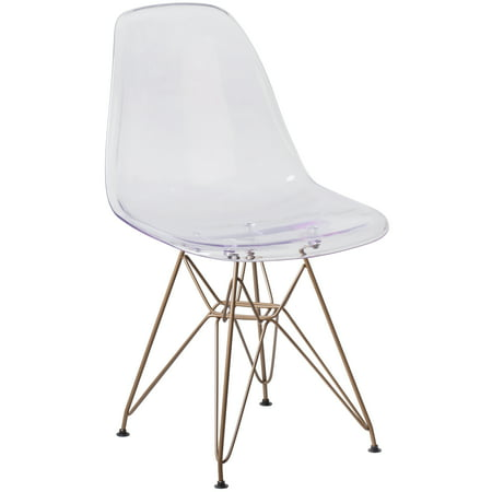 Flash Furniture Elon Series Ghost Chair with Gold Metal Base Acrylic Clear Cradle Chair