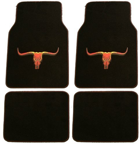 Front & Rear Car Truck SUV Carpet Floor Mats - Long Horn Bull
