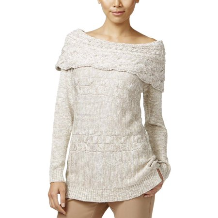 - INC Womens Fold-Over Boatneck Pullover Sweater