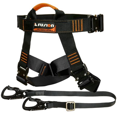 Fusion Climb Tactical Edition Adults Commercial Zip Line Kit Harness/Lanyard Bundle - Zip Line Kit