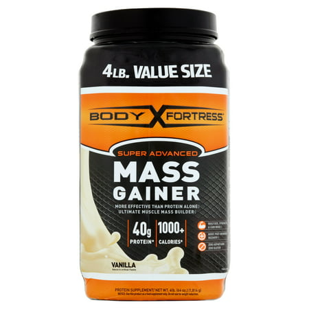 (Body Fortress Super Advanced Mass Gainer Protein Powder, Vanilla, 40g Protein, 4 Lb)