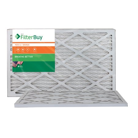 AFB Bronze MERV 6 16x25x1 Pleated AC Furnace Air Filter. Pack of 2 Filters. 100% produced in the USA.