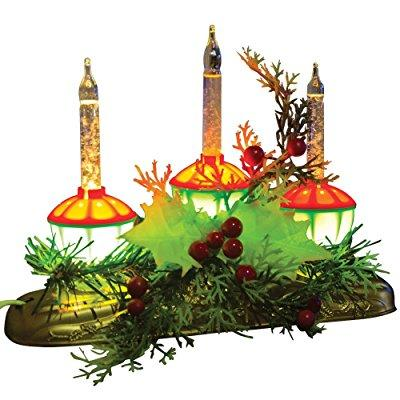 Bandwagon Vintage-Look Bubble Light Candle Glowing Christmas Holly Berry Centerpiece